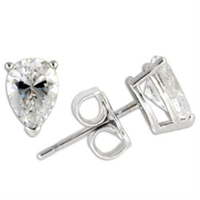 0W164 - Rhodium 925 Sterling Silver Earrings with AAA Grade CZ  in Clear