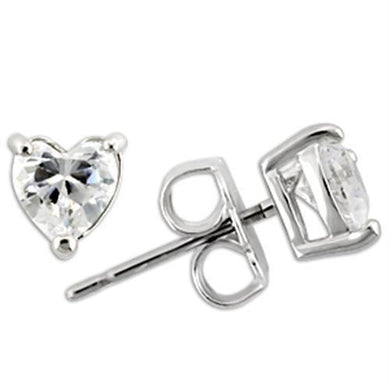 0W165 - Rhodium 925 Sterling Silver Earrings with AAA Grade CZ  in Clear