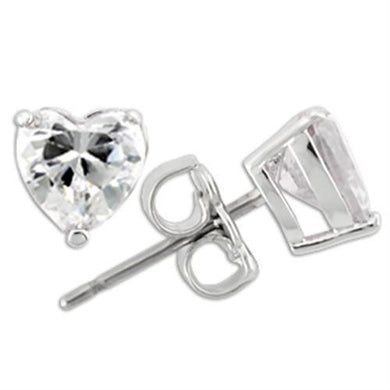 0W166 - Rhodium 925 Sterling Silver Earrings with AAA Grade CZ  in Clear