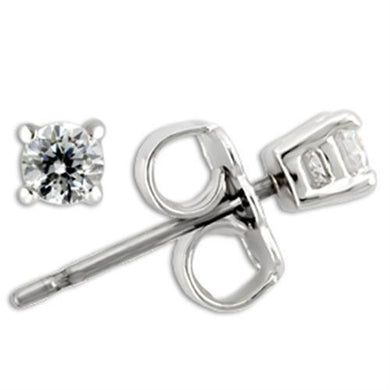 0W169 - Rhodium 925 Sterling Silver Earrings with AAA Grade CZ  in Clear