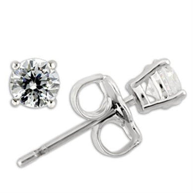 0W170 - Rhodium 925 Sterling Silver Earrings with AAA Grade CZ  in Clear