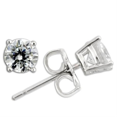 0W171 - Rhodium 925 Sterling Silver Earrings with AAA Grade CZ  in Clear
