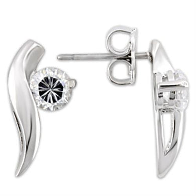 0W177 - Rhodium 925 Sterling Silver Earrings with AAA Grade CZ  in Clear