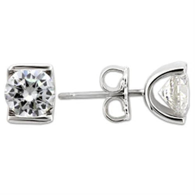 0W178 - Rhodium 925 Sterling Silver Earrings with AAA Grade CZ  in Clear