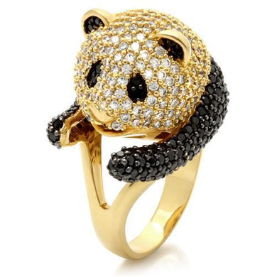 0W182 - Gold+Ruthenium Brass Ring with AAA Grade CZ  in Jet