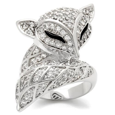 0W185 - Rhodium Brass Ring with AAA Grade CZ  in Clear