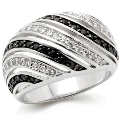 0W224 - Rhodium + Ruthenium Brass Ring with AAA Grade CZ  in Jet