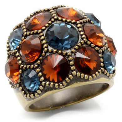0W234 - Antique Copper Brass Ring with Top Grade Crystal  in Multi Color