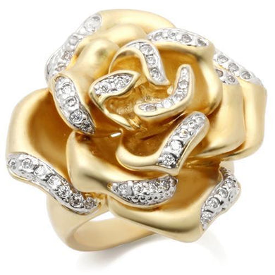 0W250 - Matte Gold & Rhodium Brass Ring with AAA Grade CZ  in Clear