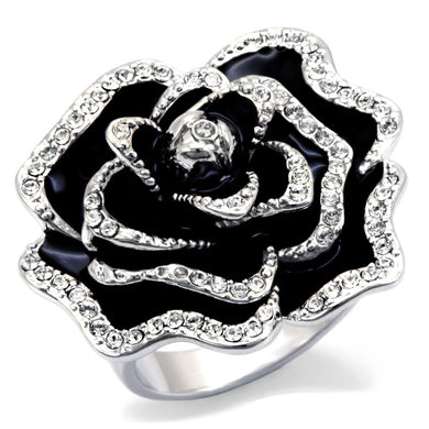 0W252 - Rhodium Brass Ring with Top Grade Crystal  in Clear