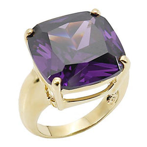 0W256 - Gold Brass Ring with AAA Grade CZ  in Amethyst