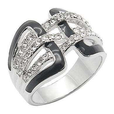 0W258 - Rhodium Brass Ring with AAA Grade CZ  in Clear