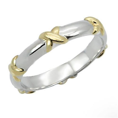 0W262 - Reverse Two-Tone Brass Ring with No Stone