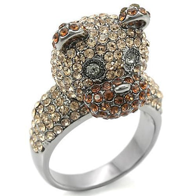 0W279 - Ruthenium Brass Ring with Top Grade Crystal  in Multi Color