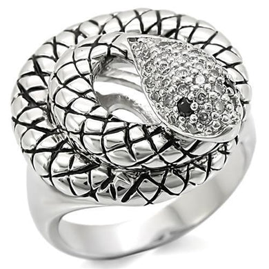 0W281 - Rhodium Brass Ring with AAA Grade CZ  in Jet
