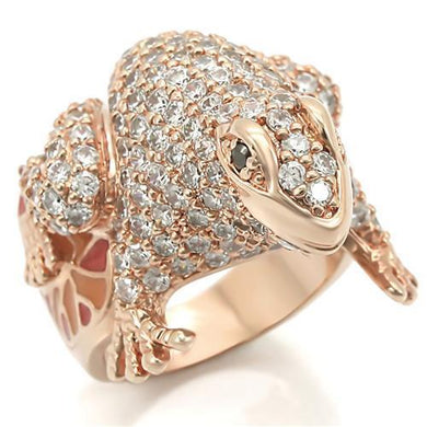 0W283 - Rose Gold Brass Ring with AAA Grade CZ  in Jet