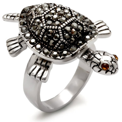 0W285 - Rhodium Brass Ring with Top Grade Crystal  in Multi Color