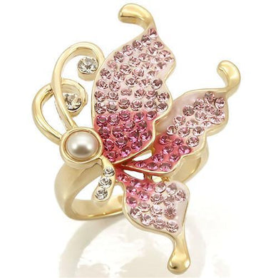 0W289 - Gold Brass Ring with Top Grade Crystal  in Multi Color