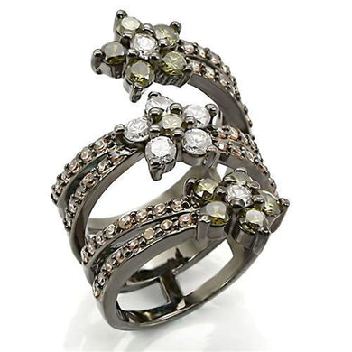 0W293 - Ruthenium Brass Ring with AAA Grade CZ  in Multi Color