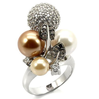 0W296 - Rhodium + Ruthenium Brass Ring with Synthetic Pearl in Multi Color