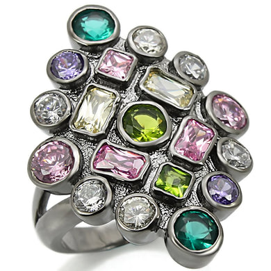 0W297 - Ruthenium Brass Ring with AAA Grade CZ  in Multi Color