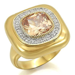 0W315 - Gold+Rhodium Brass Ring with AAA Grade CZ  in Champagne