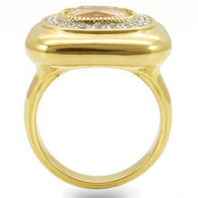 Load image into Gallery viewer, 0W315 - Gold+Rhodium Brass Ring with AAA Grade CZ  in Champagne