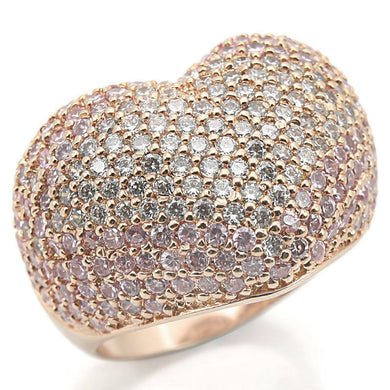 0W319 - Rose Gold Brass Ring with AAA Grade CZ  in Rose