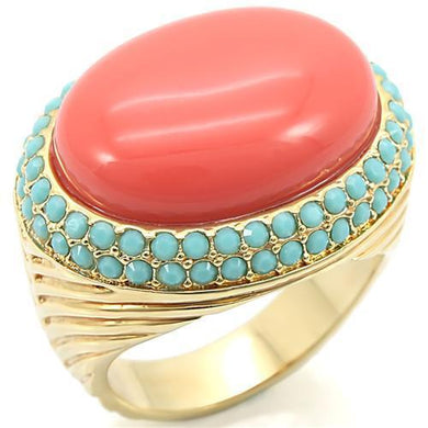 0W334 Gold Brass Ring with Semi-Precious in Rose