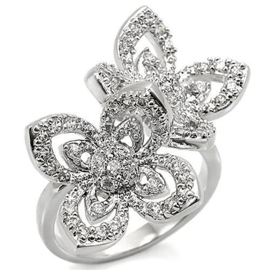 0W336 - Rhodium Brass Ring with AAA Grade CZ  in Clear
