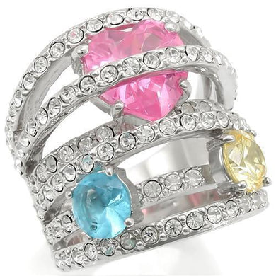 0W350 - Rhodium Brass Ring with AAA Grade CZ  in Rose