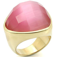 Load image into Gallery viewer, 0W364 - Gold Brass Ring with Semi-Precious Cat Eye in Light Rose