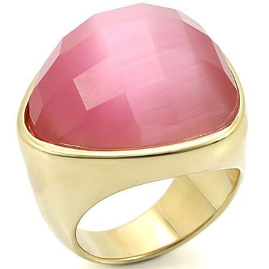 0W364 - Gold Brass Ring with Semi-Precious Cat Eye in Light Rose