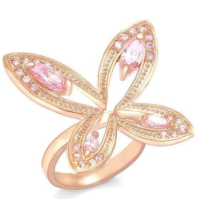 0W381 - Rose Gold Brass Ring with AAA Grade CZ  in Rose