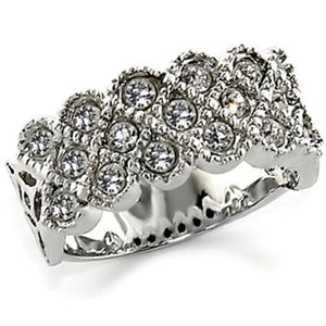 10626 - Rhodium Brass Ring with Top Grade Crystal  in Clear