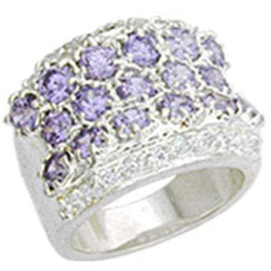 12507 - High-Polished 925 Sterling Silver Ring with AAA Grade CZ  in Light Amethyst
