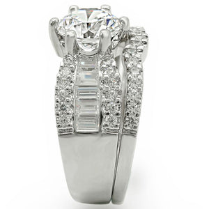1W003 - Rhodium Brass Ring with AAA Grade CZ  in Clear