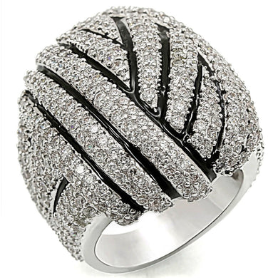 1W016 - Rhodium Brass Ring with AAA Grade CZ  in Clear