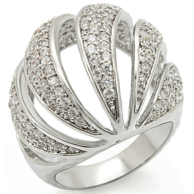1W019 - Rhodium Brass Ring with AAA Grade CZ  in Clear