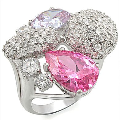 1W021 - Rhodium Brass Ring with AAA Grade CZ  in Multi Color