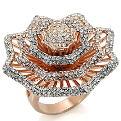 1W023 - Rose Gold + Rhodium Brass Ring with Top Grade Crystal  in Clear