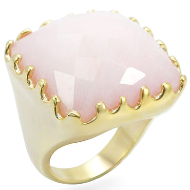 1W041 - Gold Brass Ring with Synthetic Jade in Rose