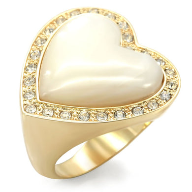 1W043 - Gold Brass Ring with Synthetic Synthetic Glass in White