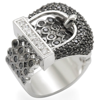 1W048 - Rhodium + Ruthenium Brass Ring with AAA Grade CZ  in Black Diamond