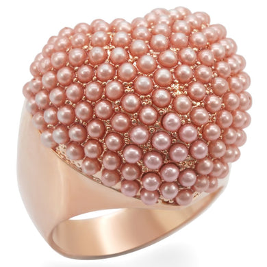 1W059 - Rose Gold Brass Ring with Synthetic Pearl in Rose