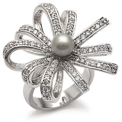 1W093 - Rhodium Brass Ring with Synthetic Pearl in Gray