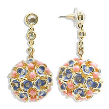 Load image into Gallery viewer, 1W107 - Gold Brass Earrings with Semi-Precious Coral in Rose