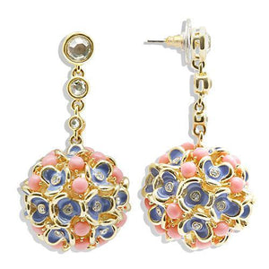 1W107 - Gold Brass Earrings with Semi-Precious Coral in Rose