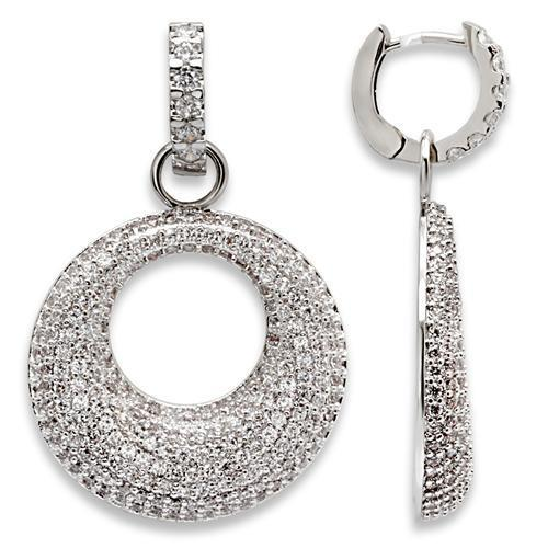 1W119 - Rhodium Brass Earrings with AAA Grade CZ  in Clear