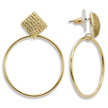 Load image into Gallery viewer, 1W120 - Gold Brass Earrings with AAA Grade CZ  in Clear